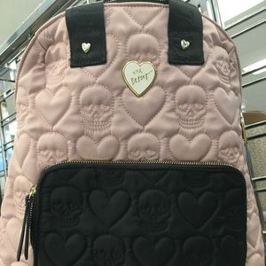 Betsey Johnson Quilted Skulls & Hearts Backpack
